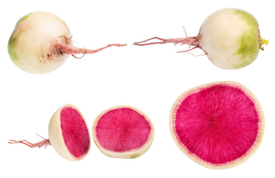whole and cutted watermelon radishes isolated