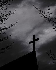 Black and white picture of a cross