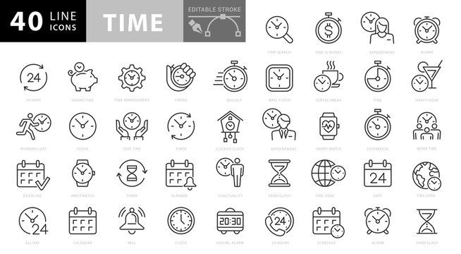 Simple Set of Time Related Vector Line Icons. Contains such Icons as Time Inspection, Log, Calendar and more. Editable Stroke