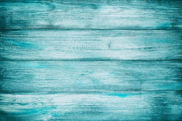 Blue old wood background texture with horizontal boards. Vintage cyan wooden texture as background