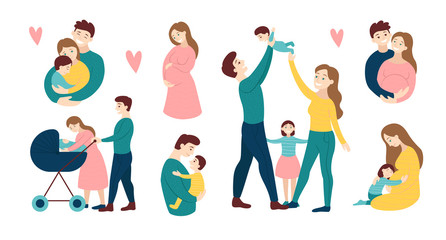 Vector design elements of various family activities isolated on white, with loving mothers and fathers with children and babies and a romantic couple isolated on white