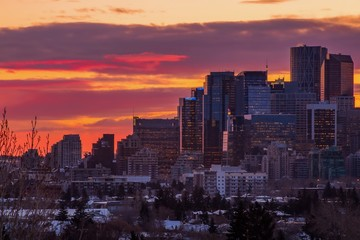 Poster Crimson Vivid City Sunrise