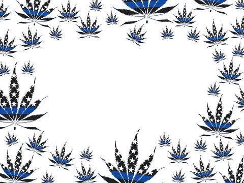 USA thin blue line marijuana leaf border isolated over white