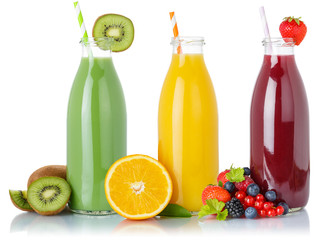 Wall Mural - Fruit juice green smoothie smoothies fruits orange drink drinks straw bottle isolated on white