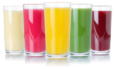 Wall Mural - Fruit juice smoothies fruits orange drinks collection glass isolated on white