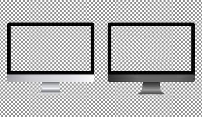 Realistic desktop computer with transparent screen. Desktop computer mockup isolated on background. Vector illustration. Fotobehang