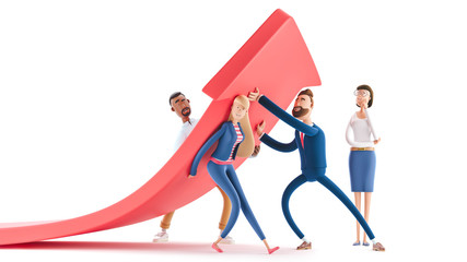 Fototapeta Change of a direction, planning new strategy. 3d illustration.  Cartoon characters. Business teamwork concept.  obraz