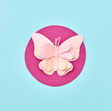 Handcraft paper pink butterfly on a red round frame on a light blue bakground with copy space. Flat lay