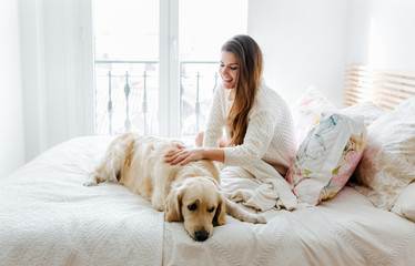 Brunette woman and her dog