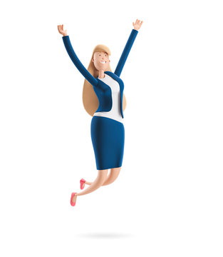 3d illustration. Young business woman Emma jumping celebrating victory