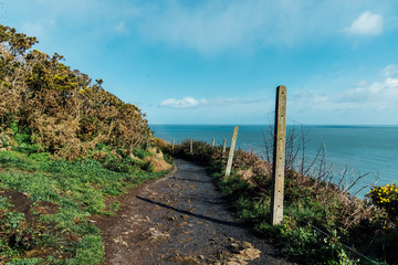 Muddy Trekking Pathway on the Coastline Facing the Ocean . Landscape Stock Picture of Ireland