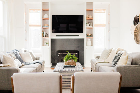 Living Room with Gray Sofas