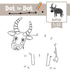 Dot to dot educational game and Coloring book Buffalo animal cartoon character vector illustration
