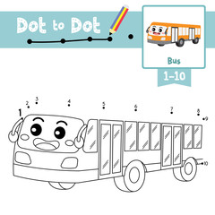 Dot to dot educational game and Coloring book Bus cartoon character perspective view vector illustration