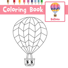 Coloring page Balloon cartoon character side view vector illustration