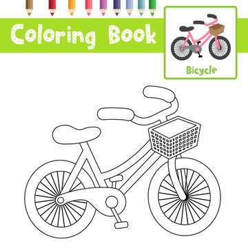 Coloring page Bicycle cartoon character perspective view vector illustration