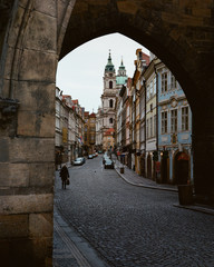 Street with ancient buildings in old town