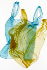Wrinkled colorful plastic bags