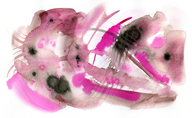 Abstract watercolor and ink painting in pink and brown isolted on white background