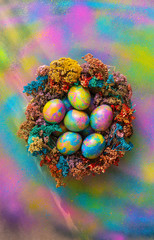 Beautiful psychedelic Easter eggs in a nest