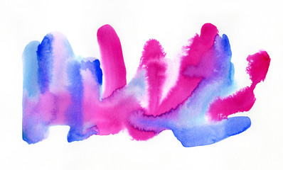 Bright watercolor abstract painting in blue, pink and violet colors on white background