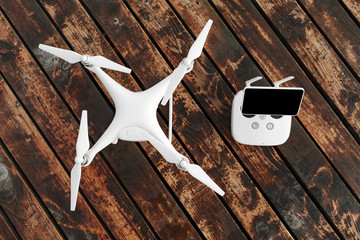Wall Mural - Drone quadcopter on the old wooden background