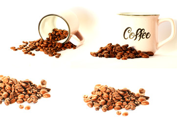 Coffee beans set isolated on white background,photo
