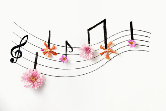 Music notes of flowers.