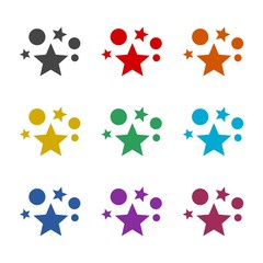 Star color icon set isolated on white background