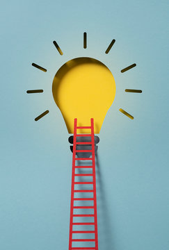 Lightbulb with a ladder representing an idea