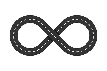 Infinity road loop icon. Infinity symbol. Figure 8 Traffic Loop. Race track sign or logo. Highway intersection or interchange. Eternal shape. Asphalt road. Transportation concept. Vector illustration Fototapete