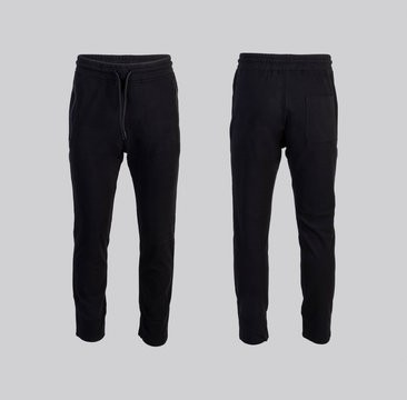black sweatpants Front and back view isolated on white background