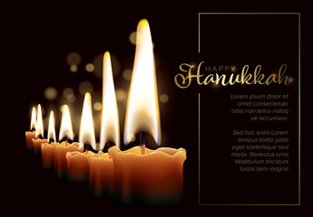 Hanukkah Card Layout with Seven Candles