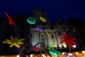 Christmas decoration is seen in front of the church at am Hof square in Vienna