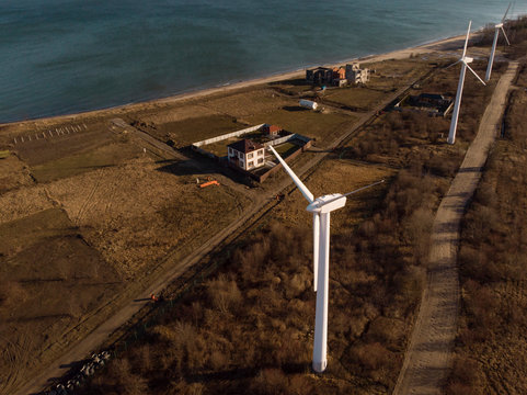 Aerial view to windmills at seaside