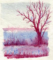 Original watercolor illustration of violet tree and thirteen rabbits