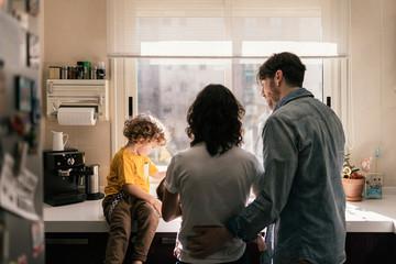 Caucasian family having fun at home