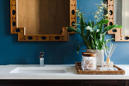 Modern blue and gold bathroom