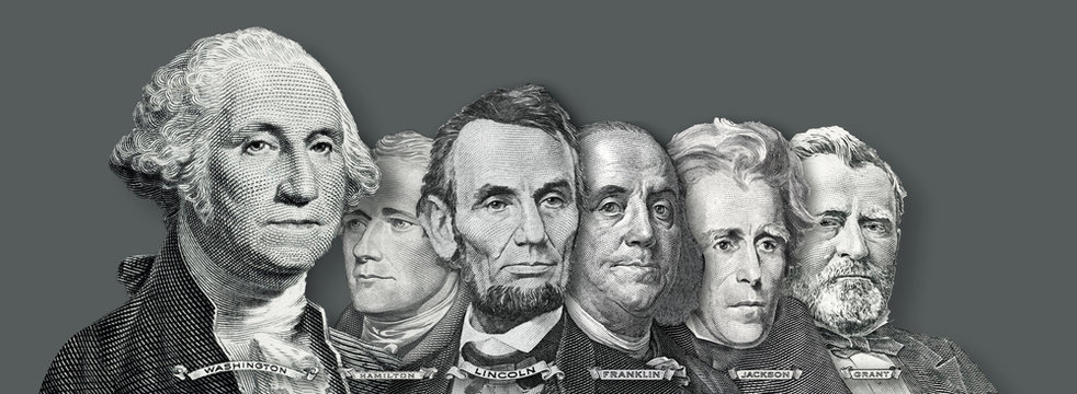 US Currency - Presidents and Founding  Fathers of the United states from Dollar Bills