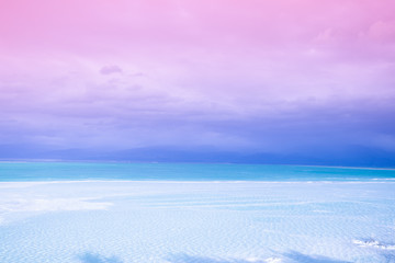 Fototapete - The Dead Sea salty shore. Salty sea shore background. Nature background