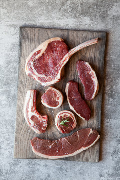 Variety of beef and lamb cuts of meat