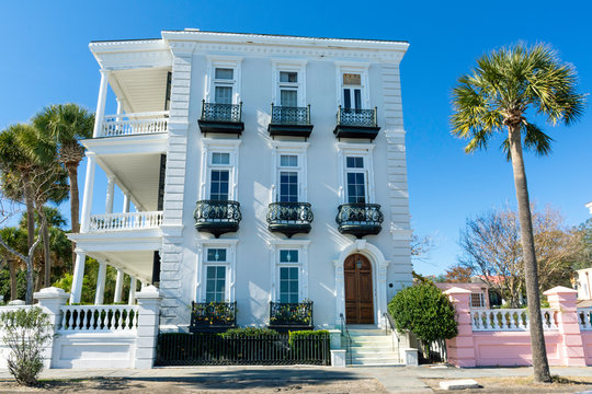 Charleston, South Carolina is home to a large and beautiful historic district.  Seen here are examples of its architecture, in the Georgian style, and unique to the south.