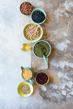 Assortment of dried beans and lentils