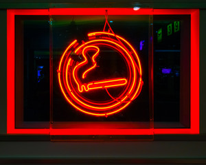 neon sign, cigarette, smoking allowed