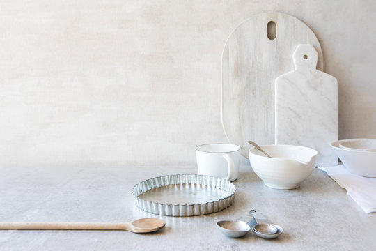 White and silver kitchen equipment