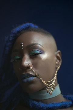 Mystical woman in blue