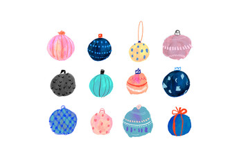 Set of Hand-Drawn Christmas Ball Ornament Illustrations