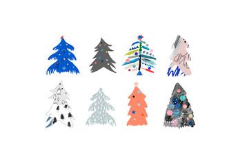 Set of Hand-Drawn Christmas Tree Illustrations