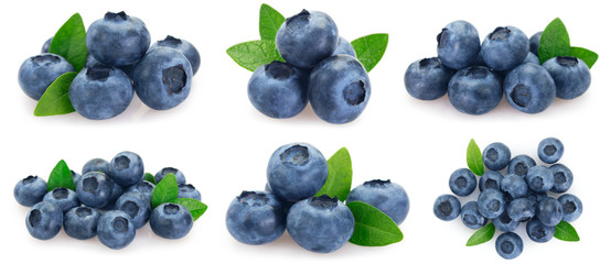 Collection of fresh blueberry on white background