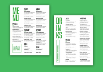Menu with Green Accents Layout